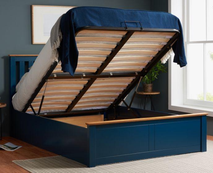 Phoenix Navy Blue Wooden Ottoman Storage Bed