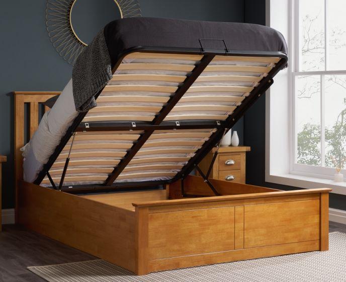 Phoenix Oak Finish Wooden Ottoman Storage Bed Frame - 4ft6 Double