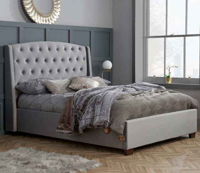 Balmoral Grey Velvet Fabric Winged Bed