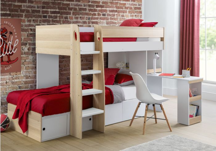Eclipse Oak and White Wooden Storage Bunk Bed