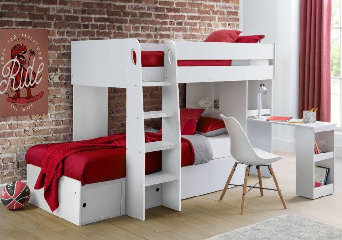 Eclipse White Wooden Storage Bunk Bed