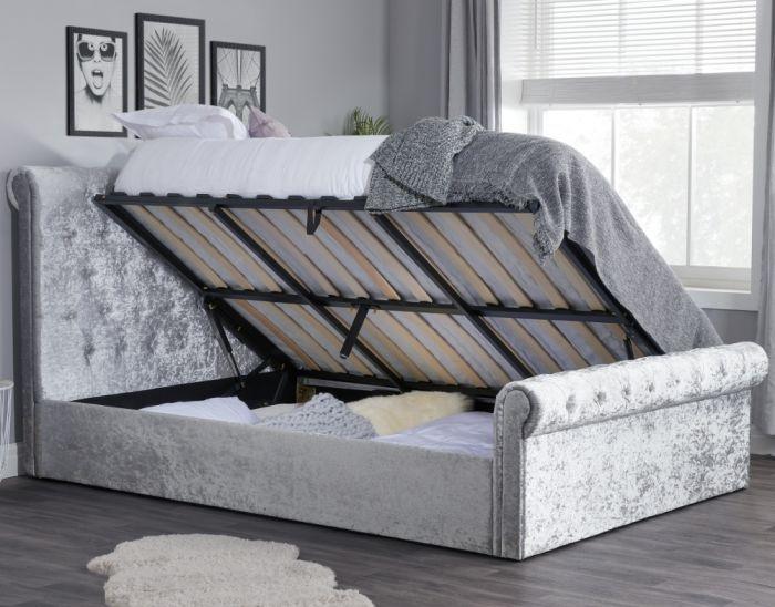 Sienna Steel Crushed Velvet Ottoman Storage Bed