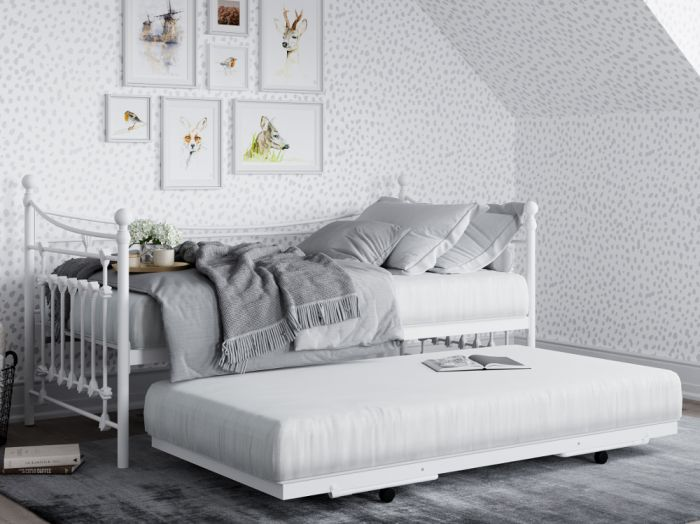 Leaf White Metal Guest Bed