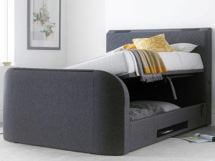 Paris Grey Fabric Ottoman Electric Media TV Bed