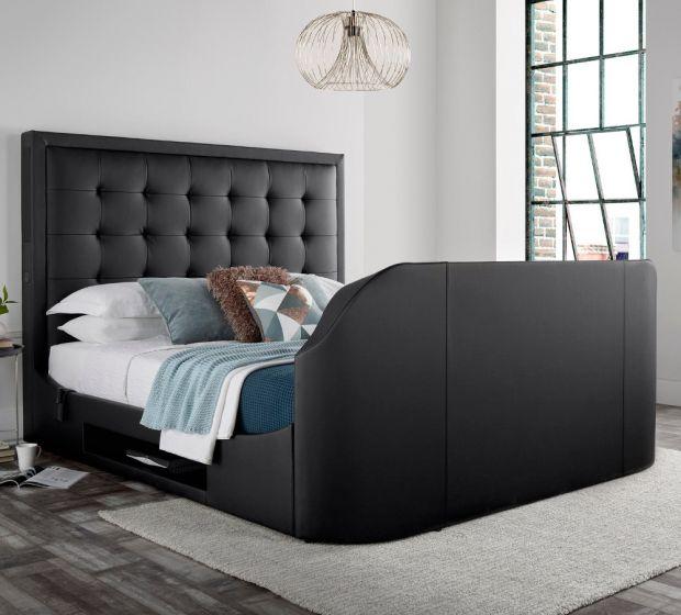 Titan 2 Black Leather Media TV Bed
