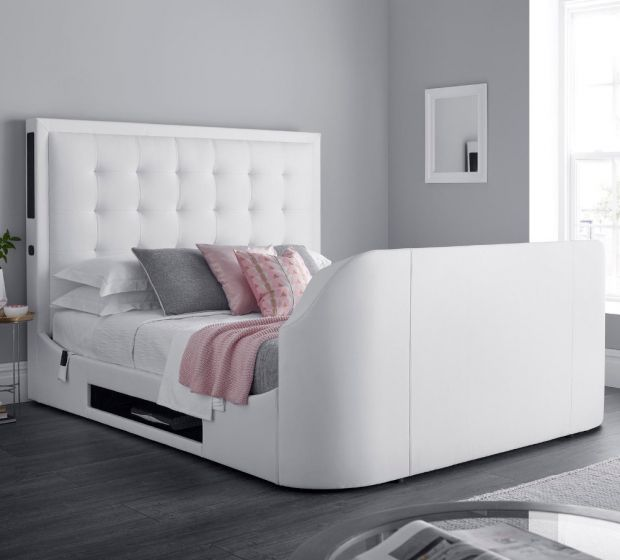 Titan 2 White Leather TV Media Bed