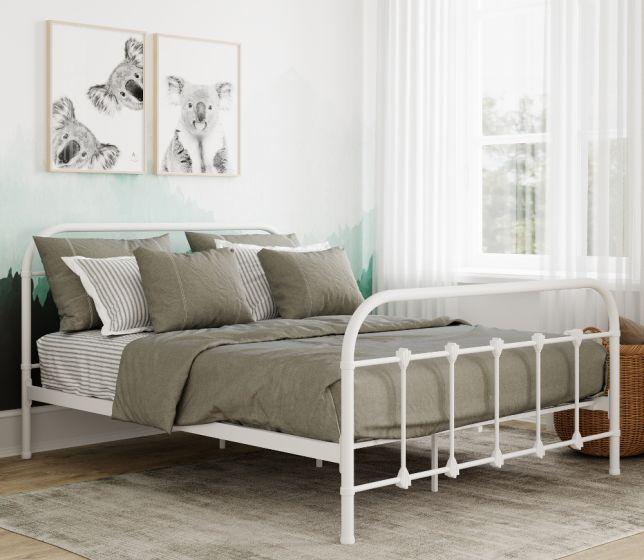 Orea White Metal Bed