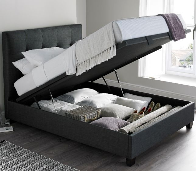 Walkworth Slate Fabric Ottoman Storage Bed