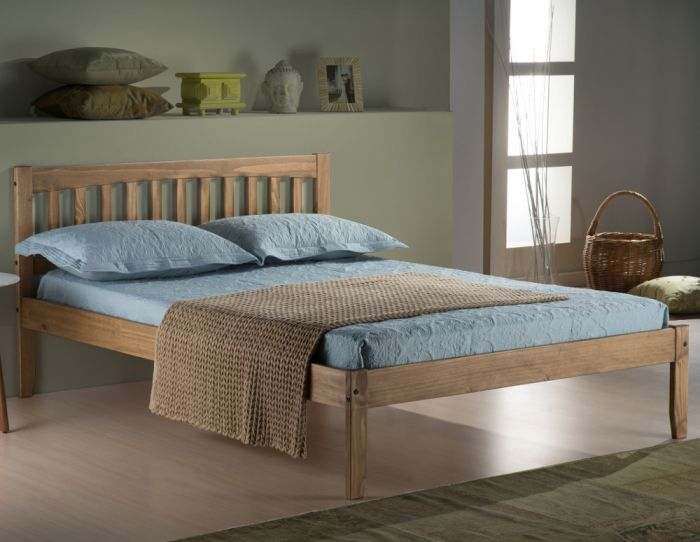 Porto Waxed Rustic Pine Finish Wooden Bed Frame - 4ft6 Double