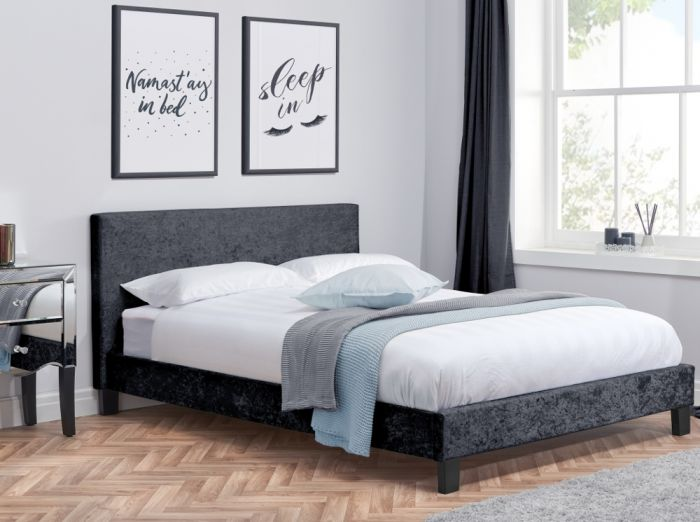 Berlin Black Crushed Velvet Fabric Bed