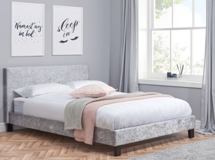 Berlin Steel Crushed Velvet Fabric Bed