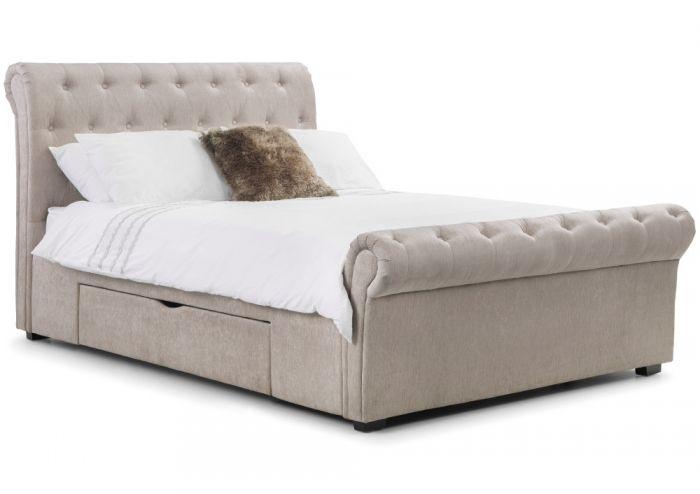 Ravello Mink Fabric 2 Drawer Storage Bed
