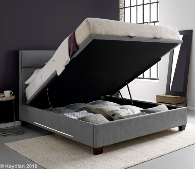 Chilton Grey Fabric Ottoman Storage Bed with lights and USB Ports