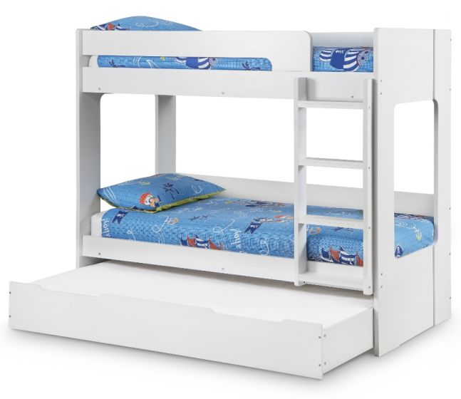 Ellie White Wooden Bunk Bed and Trundle Guestbed