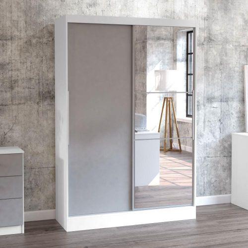 Lynx White And Grey 2 Door Sliding, Small Mirrored Wardrobe With Sliding Doors