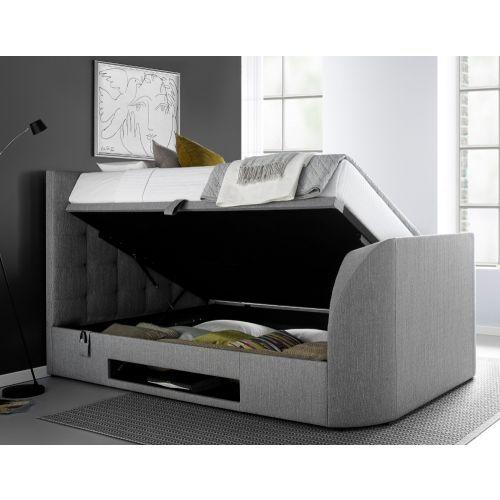 Barnard Grey Fabric Ottoman Tv Bed, Queen Size Tv Bed