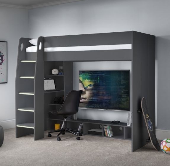 Nebula Anthracite Wooden Gaming High Sleeper Bed