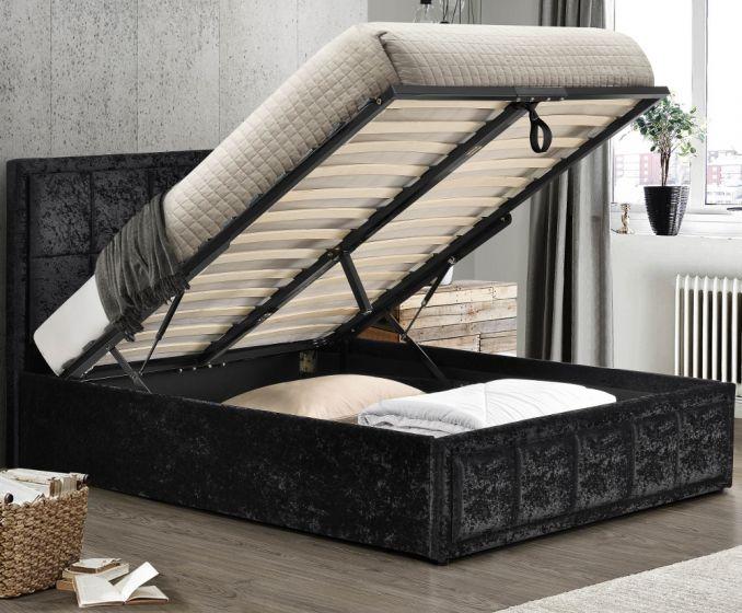 Hannover Black Velvet Fabric Ottoman Storage Bed