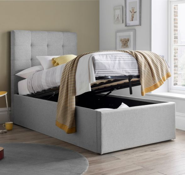 Candy Grey Fabric Ottoman Bed