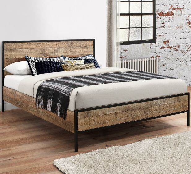 Urban Rustic Wooden and Metal Bed
