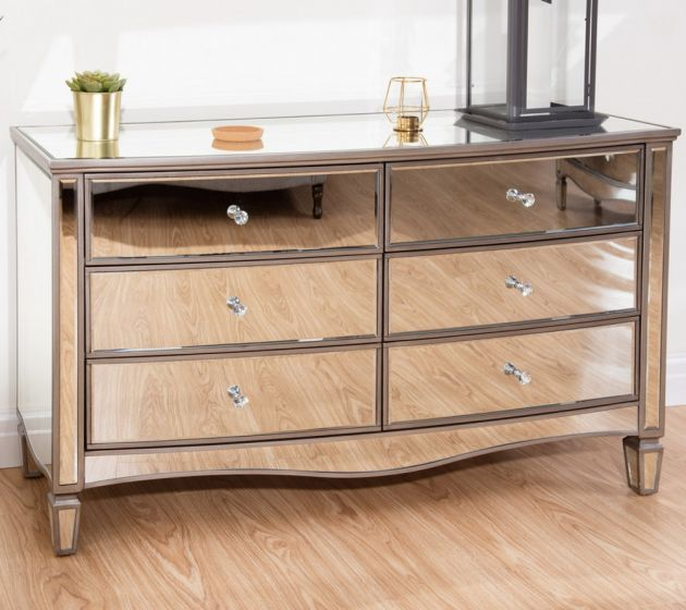 Elysee Mirrored 6 Drawer Wide Chest