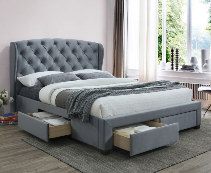 Hope Grey Velvet Fabric 4 Drawer Winged Storage Bed