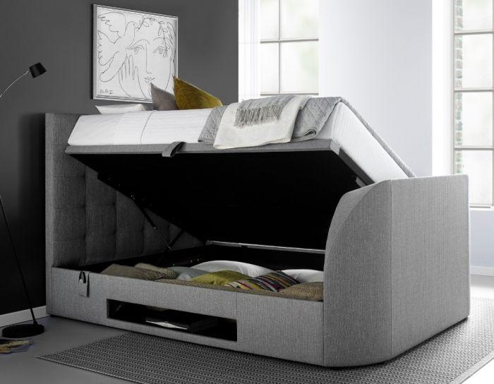 Barnard Grey Fabric Ottoman TV Bed