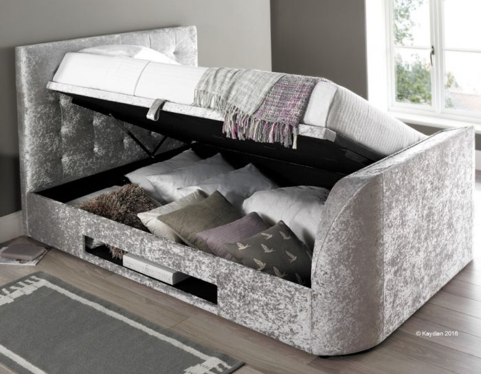 Barnard Silver Velvet Fabric TV Ottoman Storage Bed
