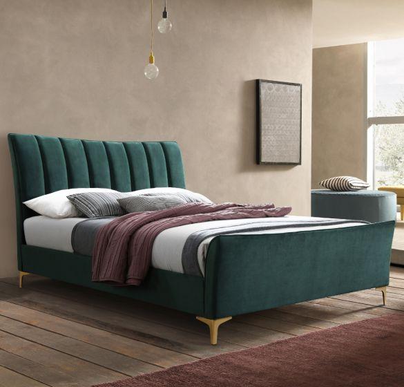 Clover Green Velvet Fabric Bed