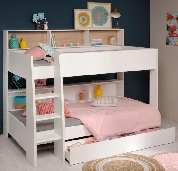 Tam Tam White and Oak Wooden Bunk Bed with Underbed Storage Drawer