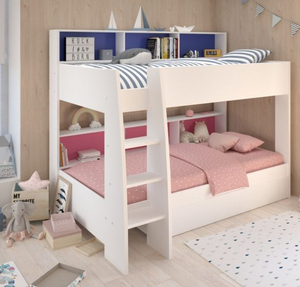 Tam Tam White Wooden Bunk Bed with Underbed Storage Drawer