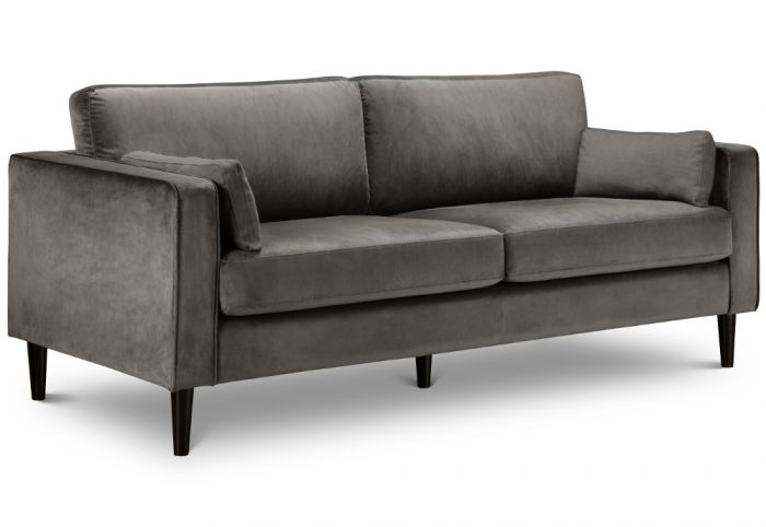 Hayward Grey Velvet 3 Seater Fabric Sofa