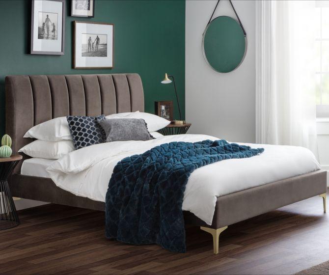 Deco Truffle Velvet Fabric Bed