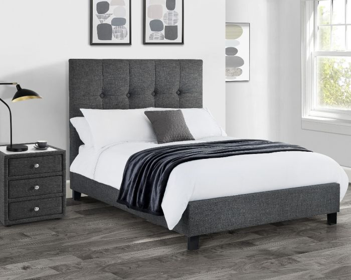 Sorrento Slate Grey Fabric Bed