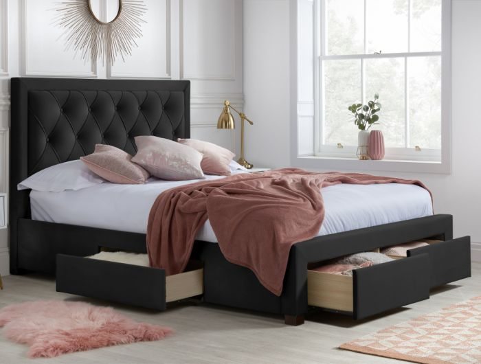 Woodbury Black Velvet Fabric 4 Drawer Storage Bed
