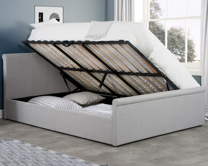 Stratus Grey Fabric Ottoman Storage Bed
