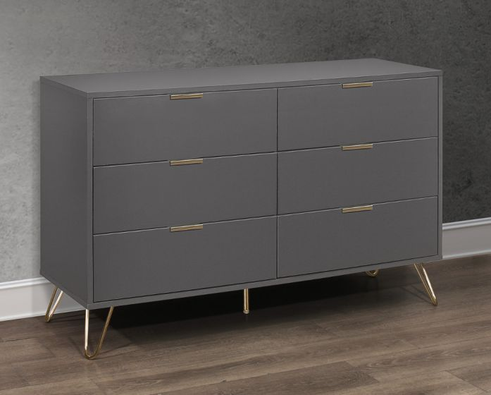 Arlo Charcoal Wooden 6 Drawer Chest