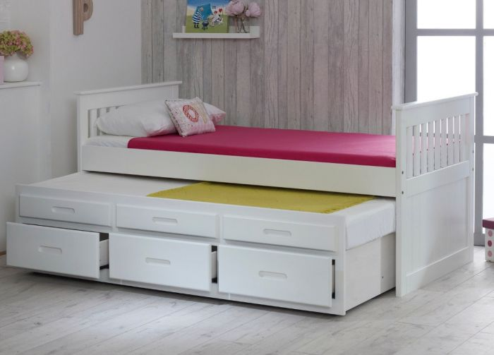Captains White Wooden Guest Bed Frame – 3ft Single from £349.99