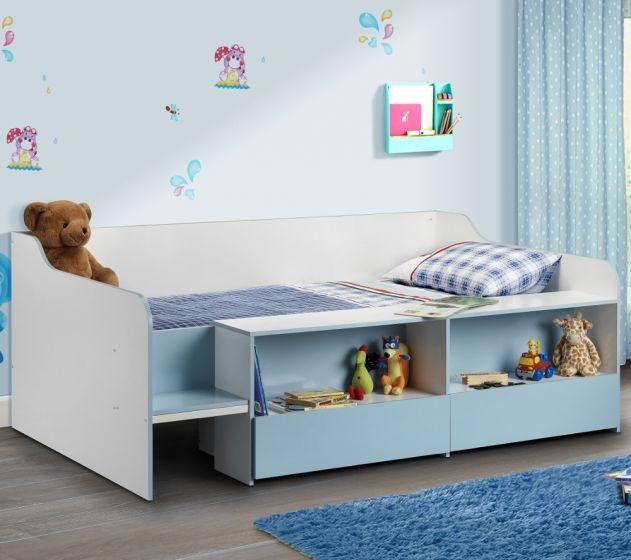 Stella Blue and White Wooden Kids Low Sleeper Cabin Storage Bed