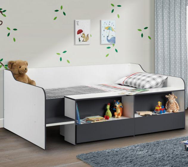 Stella Grey and White Wooden Kids Low Sleeper Cabin Storage Bed