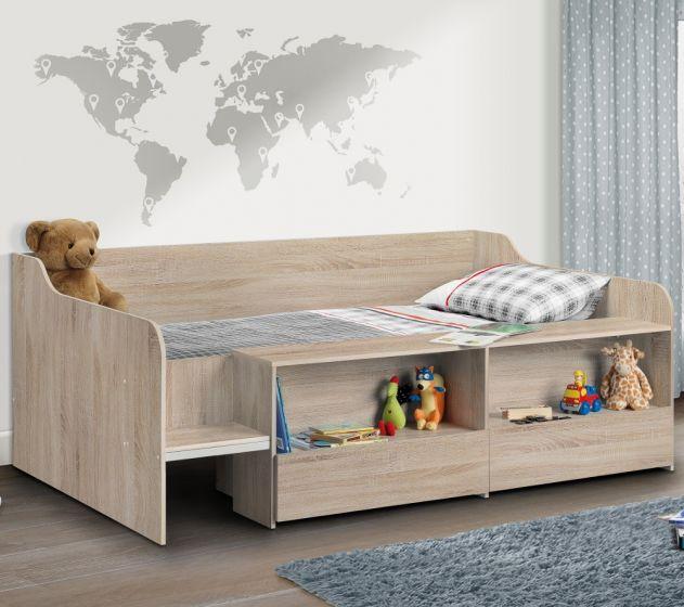 Stella Oak Wooden Kids Low Sleeper Cabin Storage Bed