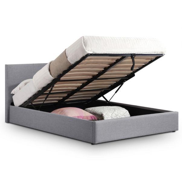 Rialto Grey Fabric Ottoman Storage Bed