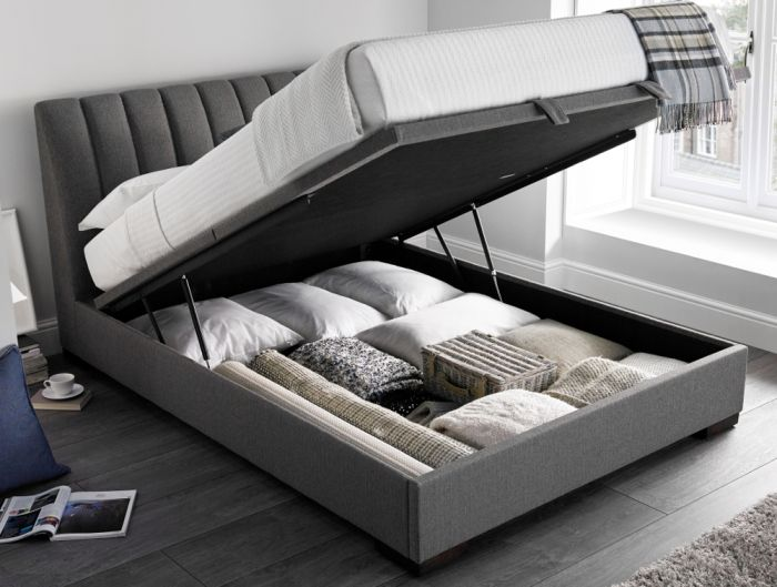 Lanchester Elephant Grey Fabric Ottoman Storage Bed