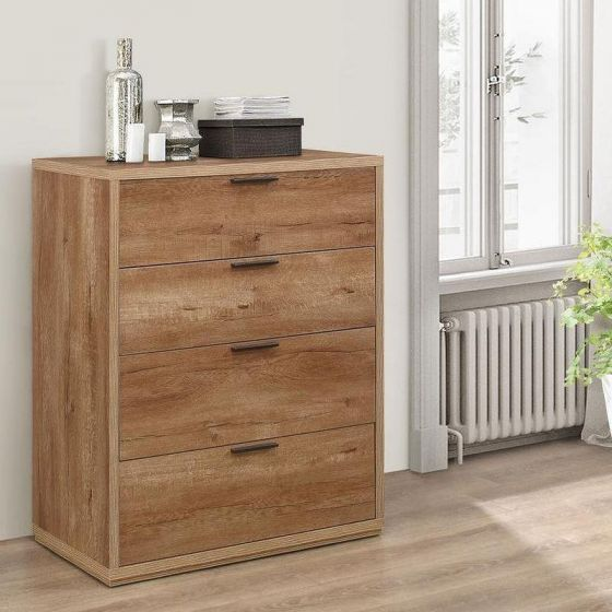 Stockwell Rustic Oak Wooden 4 Drawer Chest