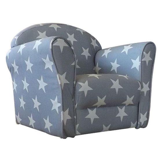 Children's Grey and White Stars Mini Armchair