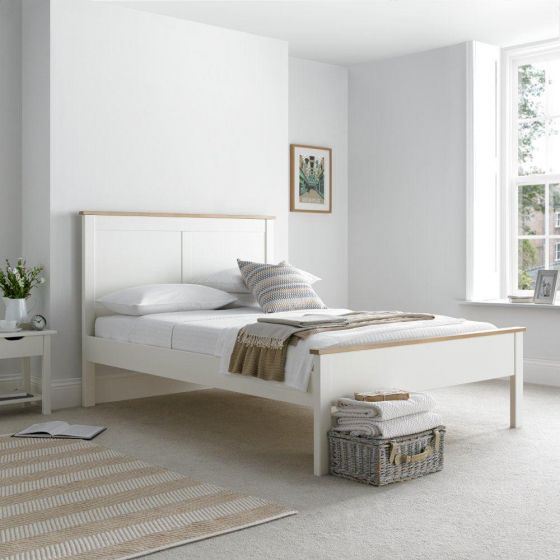 Vigo White and Oak Wooden Bed