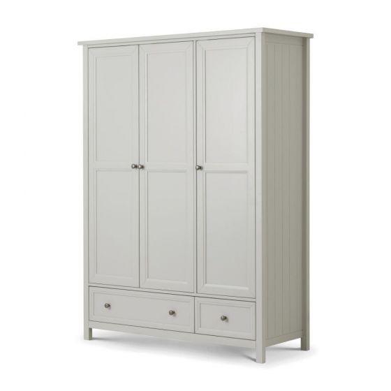 Maine Dove Grey 3 Door Wooden Combination Wardrobe