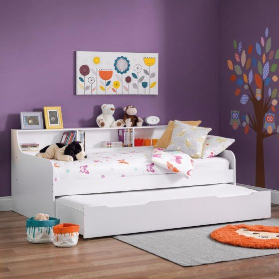 Grace White Wooden Day Bed with Guest Bed Trundle