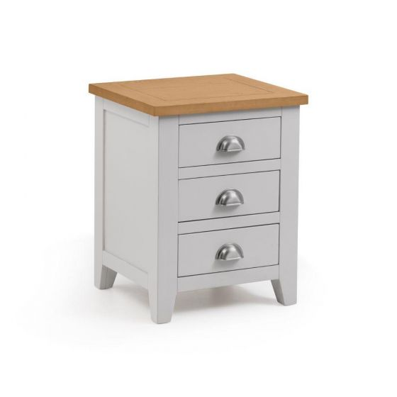 Richmond Grey and Oak 3 Drawer Wooden Bedside Table
