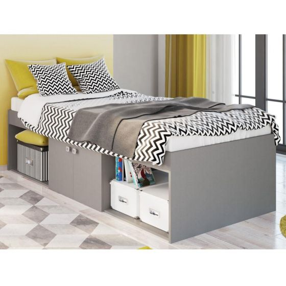Arctic Grey Wooden Low Sleeper Storage Bed